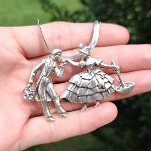 Vintage heavy STERLING victorian couple necklace